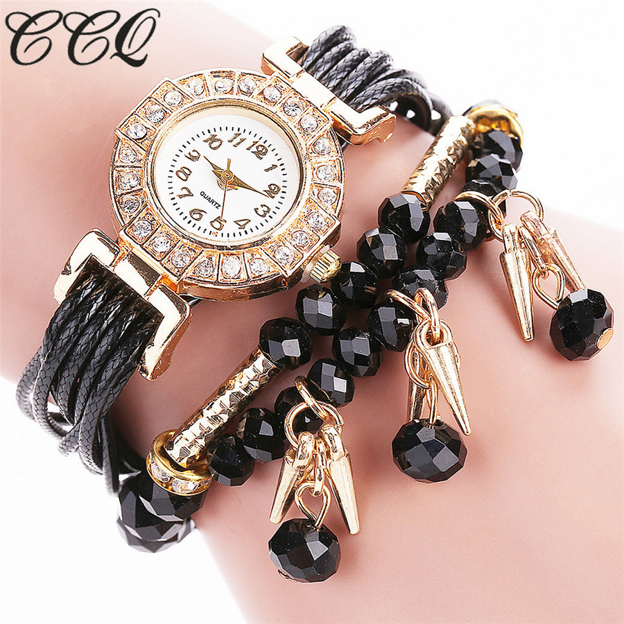 Ccq brand women luxury crystal crystal bracelet watch for Vintage costume jewelry websites