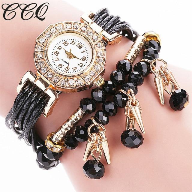 CCQ Brand Women Luxury Crystal Bracelet Watch Fashion Female Vintage Jewelry Qua