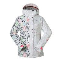 GSOU снег Открытый дамы Лыжный Спорт костюм зимний Водонепроницаемый ветрозащитный дышащий теплая одежда-стойкие лыжная куртка для Для женщ...