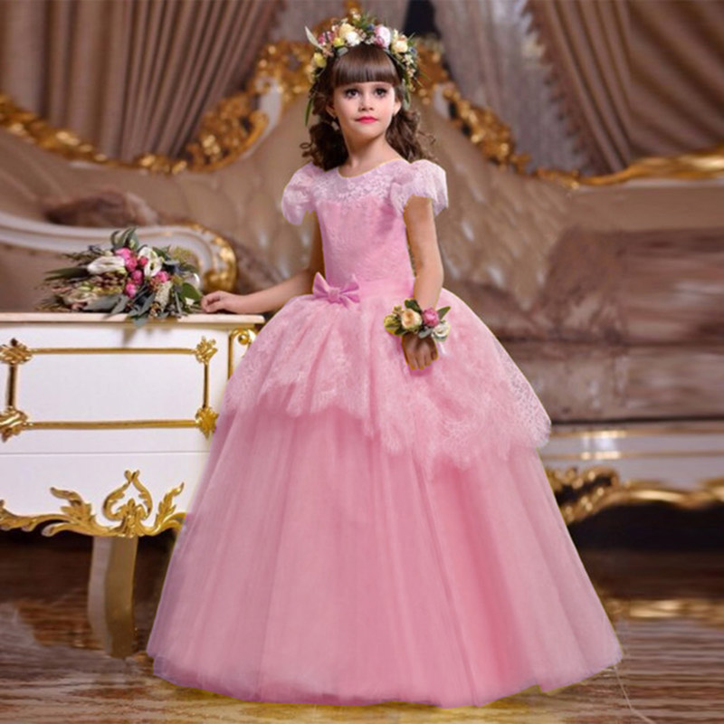 2019 new princess evening   dress   children's long party   dress     flower     girl     dress   first communion baby costume ball gown clothing