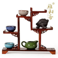 Chinese style mahogany furniture of Ming and Qing Dynasties Stone carving teapot base frame wood shelf antique teapot.