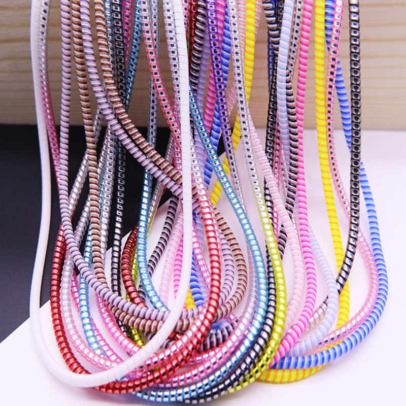 New Plating Sequins 1.5M 3 in 1 TPU spiral USB Charging cable cord protector cable winder  cable Protection for iphone Android
