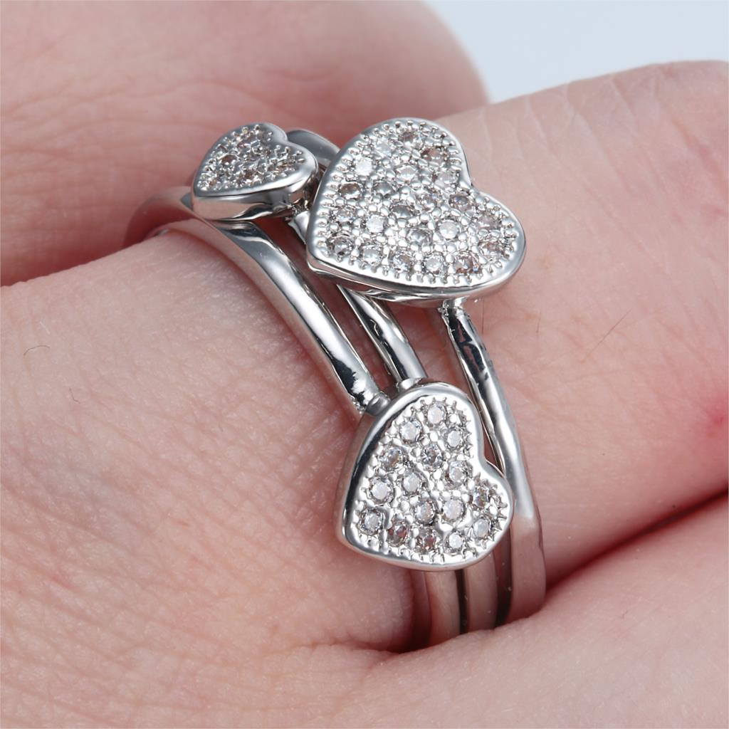 Love Women Engagement Ring sets 3pcs small big heart Luxury Crystal ...