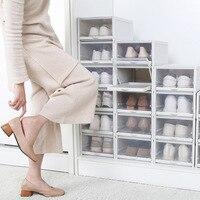 Economical 3 Pack/Set Stackable Storage Shoe Box Clear Plastic Shoes Containers Cases ds99
