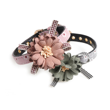 Pet Lace Bow Dog Collar Adjustable Collars Dog Cat Collar PU Leather Cat Dog Leashes For Small And Medium Pets 2 Color S /M/L shiny glitter bling powder dog cat collar pu leather puppy collars for small medium dog neck strap adjustable collar xs s m l