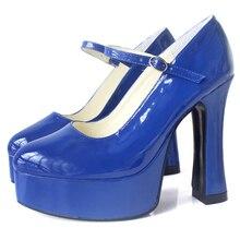"""Jialuowei zapatos de tacón alto grueso de 4 """"con plataforma de 1,5"""" para Halloween, zapatos góticos de Demonia de talla grande, Black Mary Jane Dolly"""