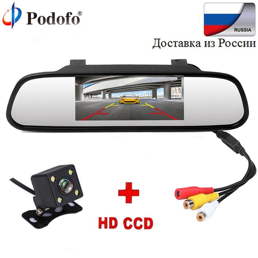 Podofo 4.3 Car Rearview Mirror Monitor Rear View Camera TFT-CCD Video Auto Parking Kit 4 LED Night Vision Reversing Car-styling