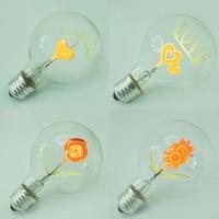Vintage Edison Bulb E27 G80 Retro Incandescent Light Bulbs I Love You Heart Shape Art Decorative