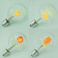Vintage Edison Ampoule E27 G80 Rétro Ampoules À Incandescence Je T'aime Coeur Forme Art Décoratif Lampe De Noël Éclairage AC220V