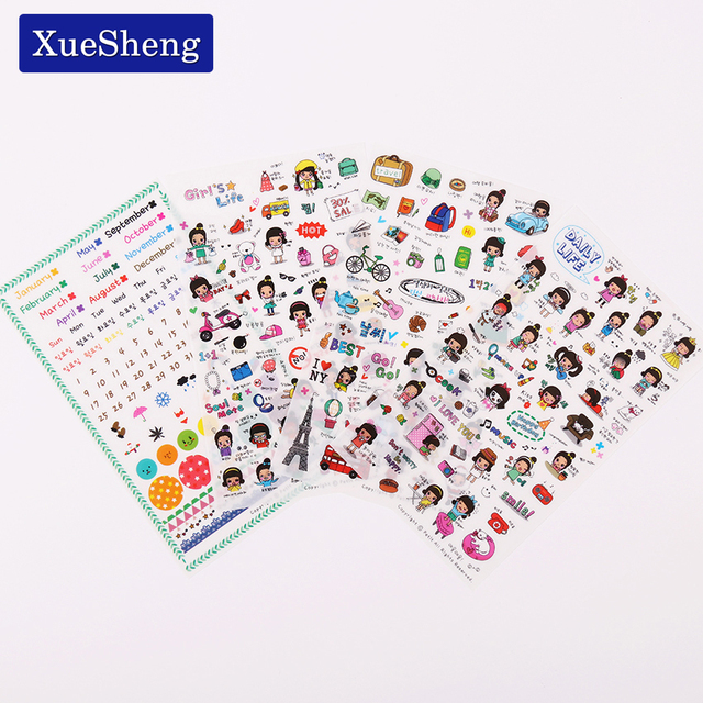 8 PCS/ Pack Daily Life 8 Sheet Cute Stationery Travel Pvc Kawaii Planner Stickers Sticky Notes Post It Papelaria