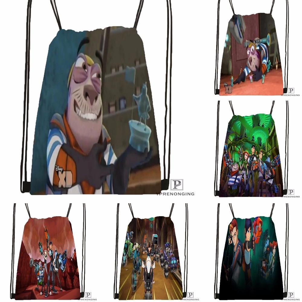 Custom Slugterra Drawstring Backpack Bag Cute Daypack Kids Satchel (Black Back) 31x40cm#180531-02-63