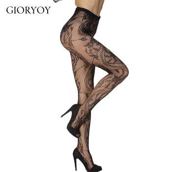 GIORYOY Sexy Charming Floral Pattern Fishnet Pantyhose Seamless Women Slim Lolita Style Fashion Soft Pantyhose Solid Transparent розовое кружевное белье