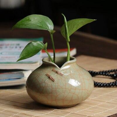 4x 14mm Cerámica Casa de Muñecas en Miniatura Verde Planta Ollas