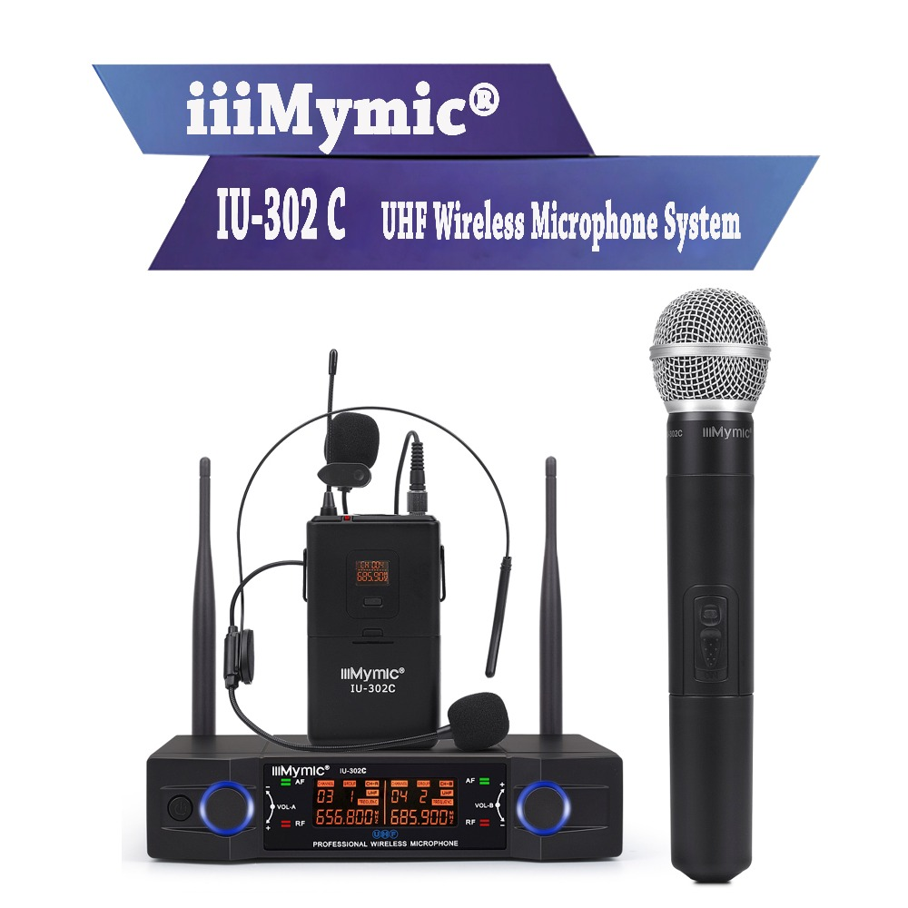 iiiMymic IU-302C UHF 600-700MHz Dual Channel Bodypack+Lapel+Headset+Handheld Professional Wireless Microphone System for DJ KTV free shipping uhf professional sx 14 wireless microphone system with bodypack headset microphone band j3 572 596mhz