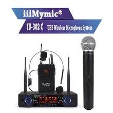 IiiMymic IU-302C UHF 600-700 мГц двухканальный поясной + с лацканами + гарнитура + ручной профессиональный Беспроводной микрофон Системы для DJ КТВ