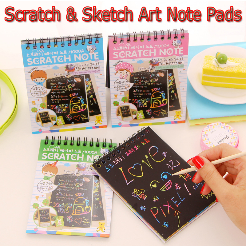 4PCS Scratch Sketch Art Note Pads Scratch Art Rainbow Mini Notebooks With Scratch Wooden Stylus Doodle Pad Drawing Notes for kid