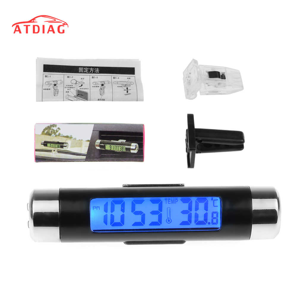 2in1 Car Digital LCD Temperature Thermometer Clock Car Clock Thermometer Digital Backlight Automotive Thermometer