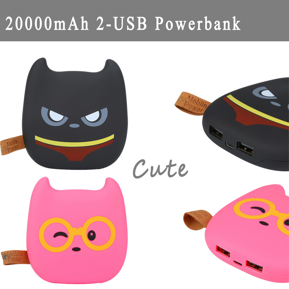 Good quality Cute Emoji 20000mAh Portable 2 USB External Battery Charger Power Bank For Cell Phone for Iphone 8 Fast Charging ...