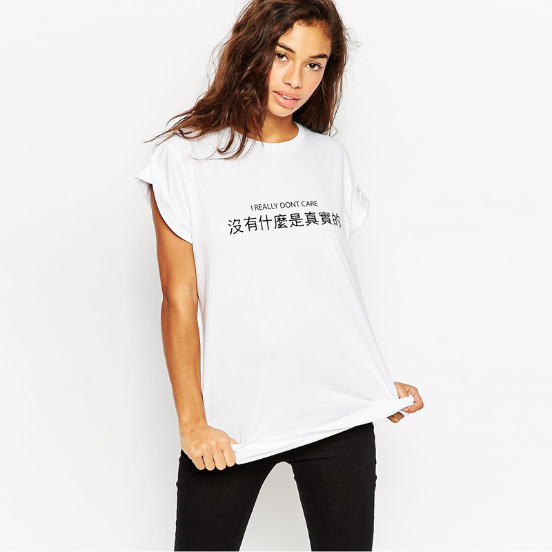 2016 Latest Womens T Shirt Chinese Character Letter Print 100