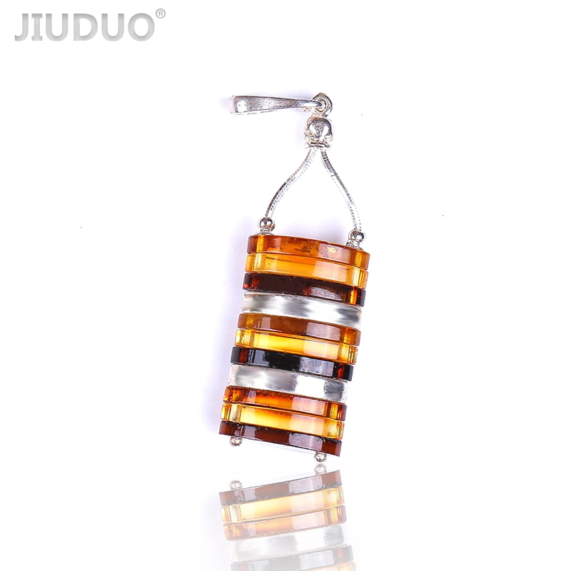 JIUDUO Pure natural amber beeswax Pendant fashion pretty 925 sterling silver factory outlet special factory outlet CH09 jiuduo fashion natural baltic amber beeswax female necklace pendant 925 silver design factory direct special package mail
