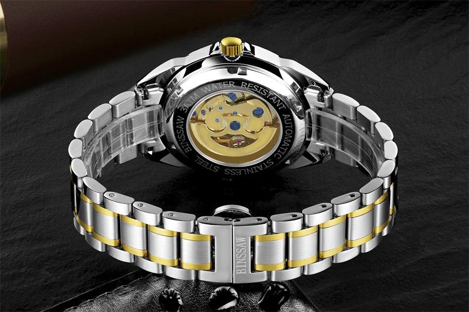 Ерлер BINSSAW Люкс Жаңа қара қара watch - Ерлердің сағаттары - фото 5