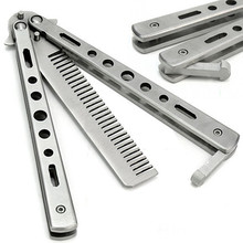 New Trendy Novelty Item Stainless Steel Practice Training Butterfly Knife Comb Tool Cool Sport