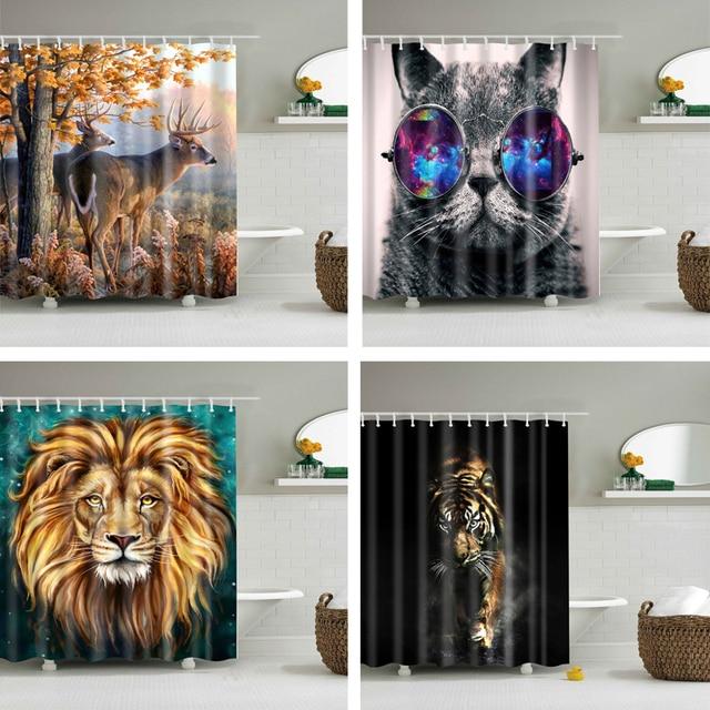 Animali stampato leone, tigre, gatto 3d tende del bagno impermeabile tessuto in