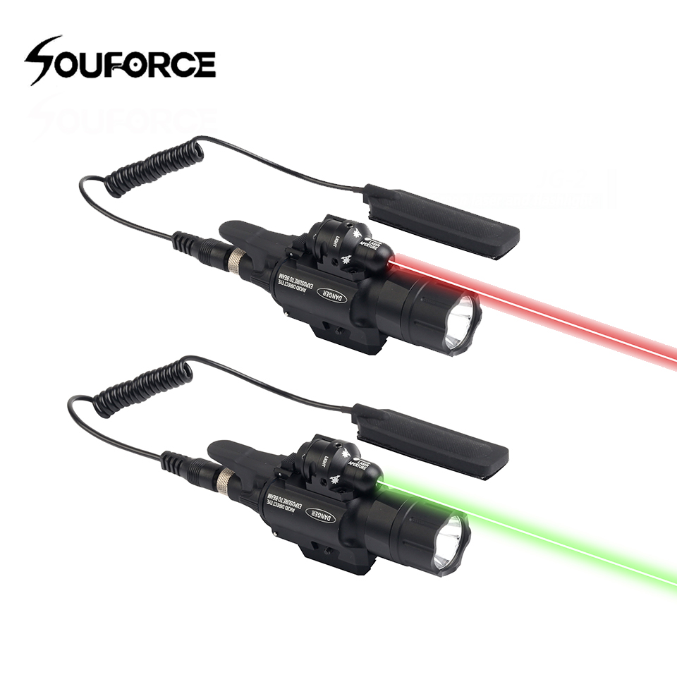 High Quality BOB-JG-2 500 Lumen Tactical Flashlight Green/Red Laser Sight Fit 20mm Picatinny Rail with Control switch for Gun opening 20 mm tripod with lamp red circle ship type switch kcd1 105 3 feet 2 file with lamp