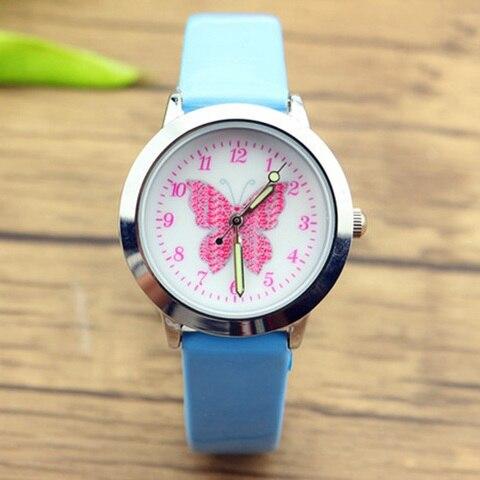 JOYROX Relogio Relojes Kol Saati 3D Colorful Butterfly Watches Children Kids Girls Gift Watch Casual Quartz Wristwatch Student Islamabad