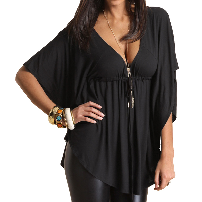 Blouse Femininas XXXL Summer Women Casual Blouse Sexy V-Neck Batwing Sleeve Vintage Shirt Ladies Solid Blouses Plus Size