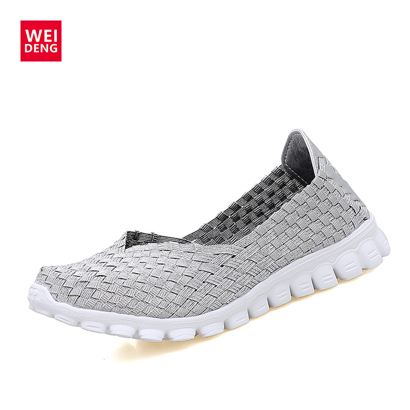 WeiDeng Casual Ultra Soft Fashion Breathable Handmade Woven Shoes for Women Light Comfortable Ultralight Lazy Flat Soft Shoes women casual shoes 2018 summer cool breathable handmade female woven footwear fashion comfortable lightweight wovening sneakers