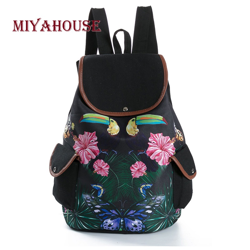 Miyahouse Vintage Butterfly Leaves Print Backpacks Female Canvas Travel Rucksacks For Girls Shoulder School Bags Floral Printed canvas floral print backpacks shoulder bags for girls school bags black summer brand vintage backpack mochilas mujer d38j16