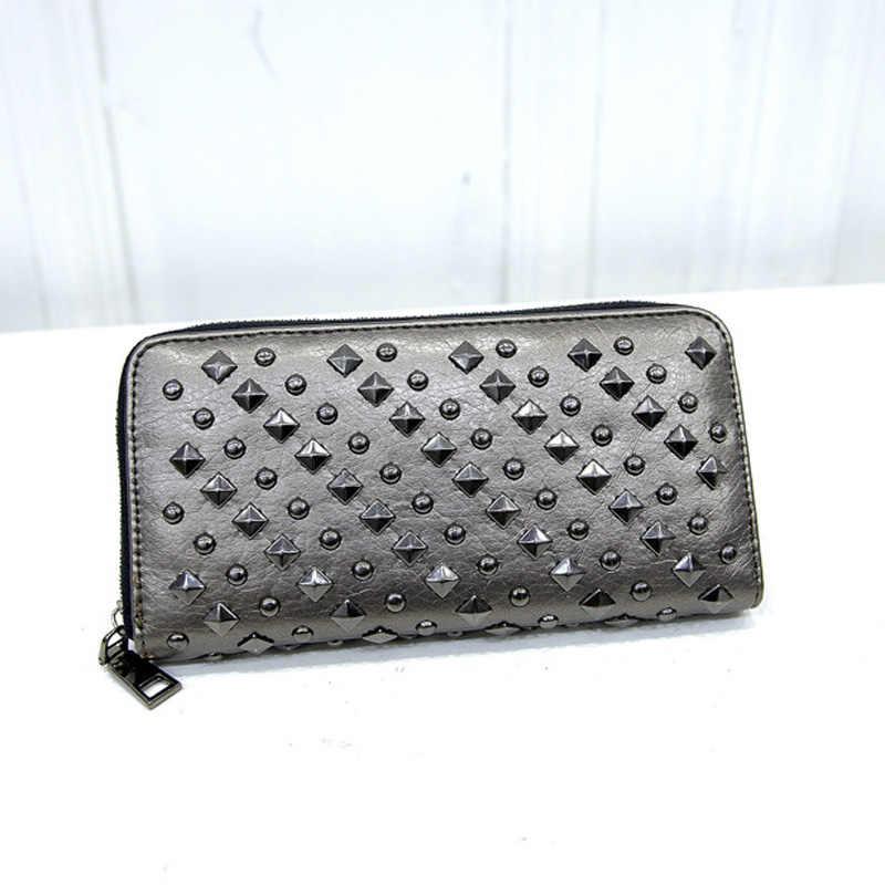 DALFR femmes portefeuille dames en cuir sacs à main Long portefeuille femmes pièce poche pochette Rivets Style femmes sacs à main portefeuilles