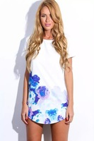 Lato drukowane szyfonowa sukienka damska hot sprzedaż 3s2395 biały niebieski różowy kwiatowy z krótkim rękawem scoop neck kobiety sukienka darmowa wysyłka