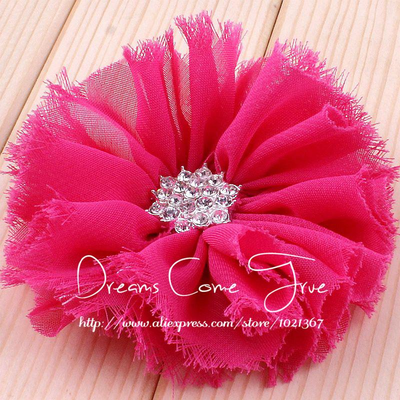 200pcs lot 3 16Colors Artificial Fabric Bristles Hair Flower Accessories With Clear Rhinestone Button For Baby