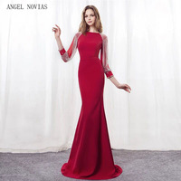 ANGEL NOVIAS Elegant Red Mermaid Long Sleeve Evening Dresses 2018 Beads Crystal Party Gowns Sweep Train Party Dress