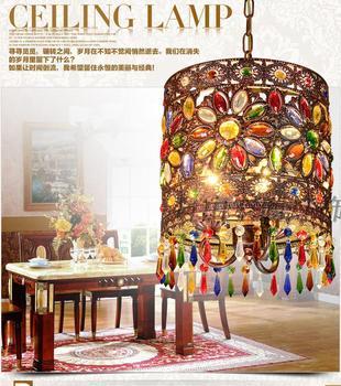 Mediterranean retro Bohemian crystal pendant lamp hallway cozy Creative lamp bar corridor