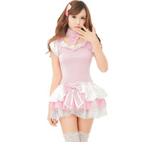 New 2018 Europe United States pink cute sexy lingeries maid cosplay women girls princess maid uniform temptation wholesale