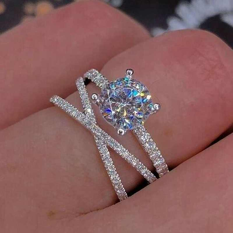 Fashion Cross Design Silver Color Ring Crystal Zircon Filled Wedding Engagement Rings For Women Jewelry Size 5-10
