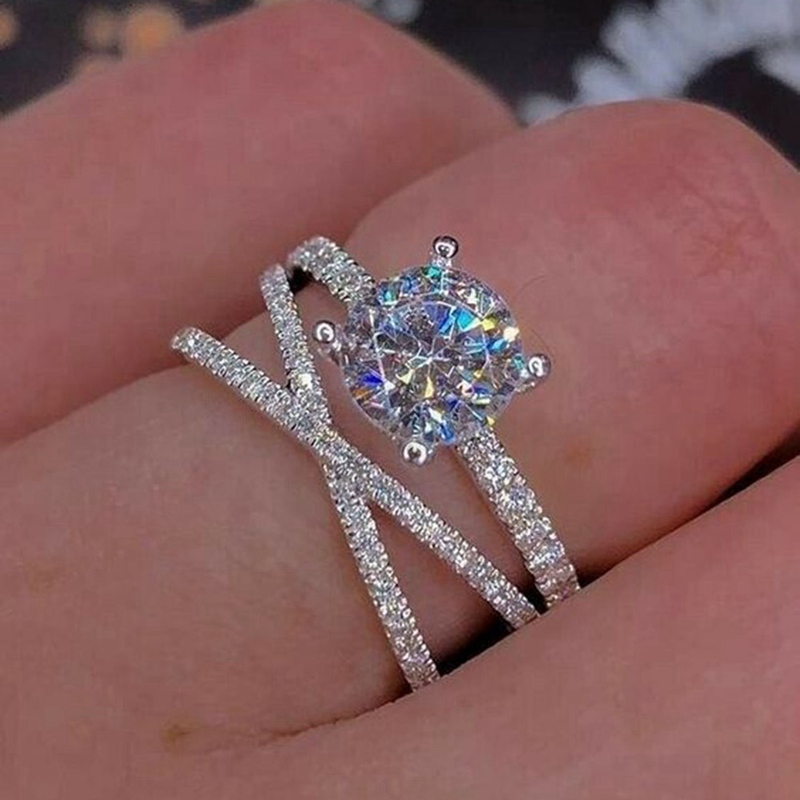 Women Fashion Silver Plated Heart Shaped Zircon Crystal Ring Jewelry Size 5-10