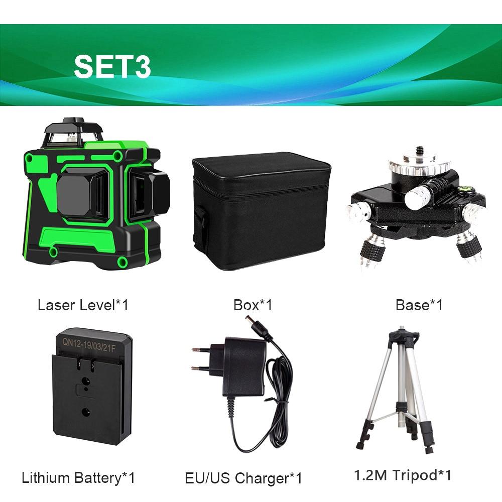 12 линий 3D зеленый лазерный уровень самонивелирующийся 360 градусов Горизонтальные и вертикальные поперечные линии Зеленая лазерная линия с батареей штатива - Цвет: SET3 V12L1