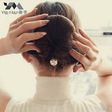 24cm DIY Big Simulated Pearl Hair Bun Styling Tools Roller Black Barrette For Women Hair Accessories