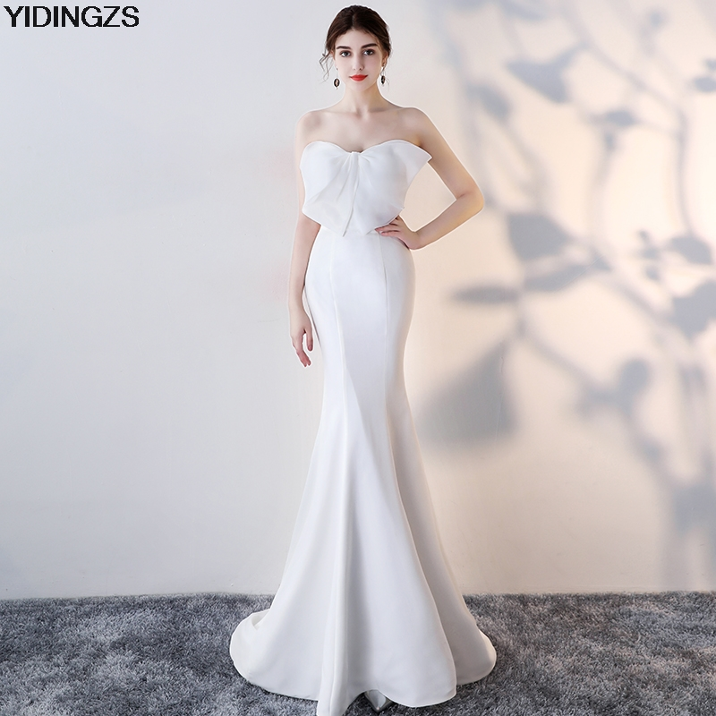 YIDINGZS Strapless Sexy Mermaid Long   Evening     Dress   2019 Real Simple   Evening   Gowns Black/Green/Pink