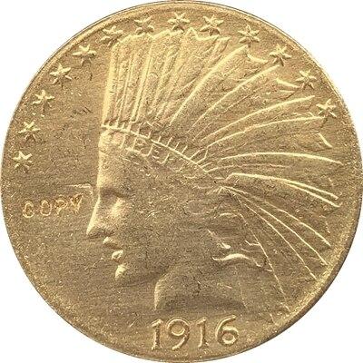 24-к позолоченный 1916-S $10 Золото индийская половина монета с изображением орла КОПИЯ БЕСПЛАТНАЯ ДОСТАВКА