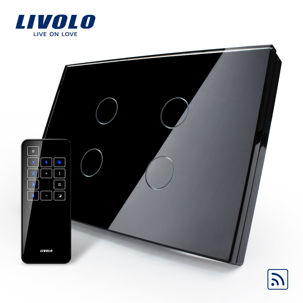 US/AU, Smart Livolo Switch, Black Glass Panel, Remote Touch Screen Light Switch With Touch Remote,VL-C304R-82&VL-RMT-03 2017 smart home crystal glass panel wall switch wireless remote light switch us 1 gang wall light touch switch with controller