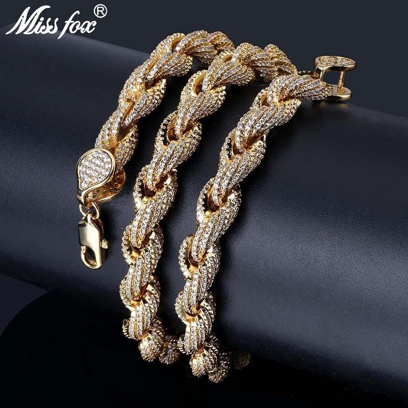 MISSFOX HIP Hop tout glacé populaire 8mm de large 24 K plaqué or chaîne torsadée AAA cubique zircone hommes collier bijoux 18
