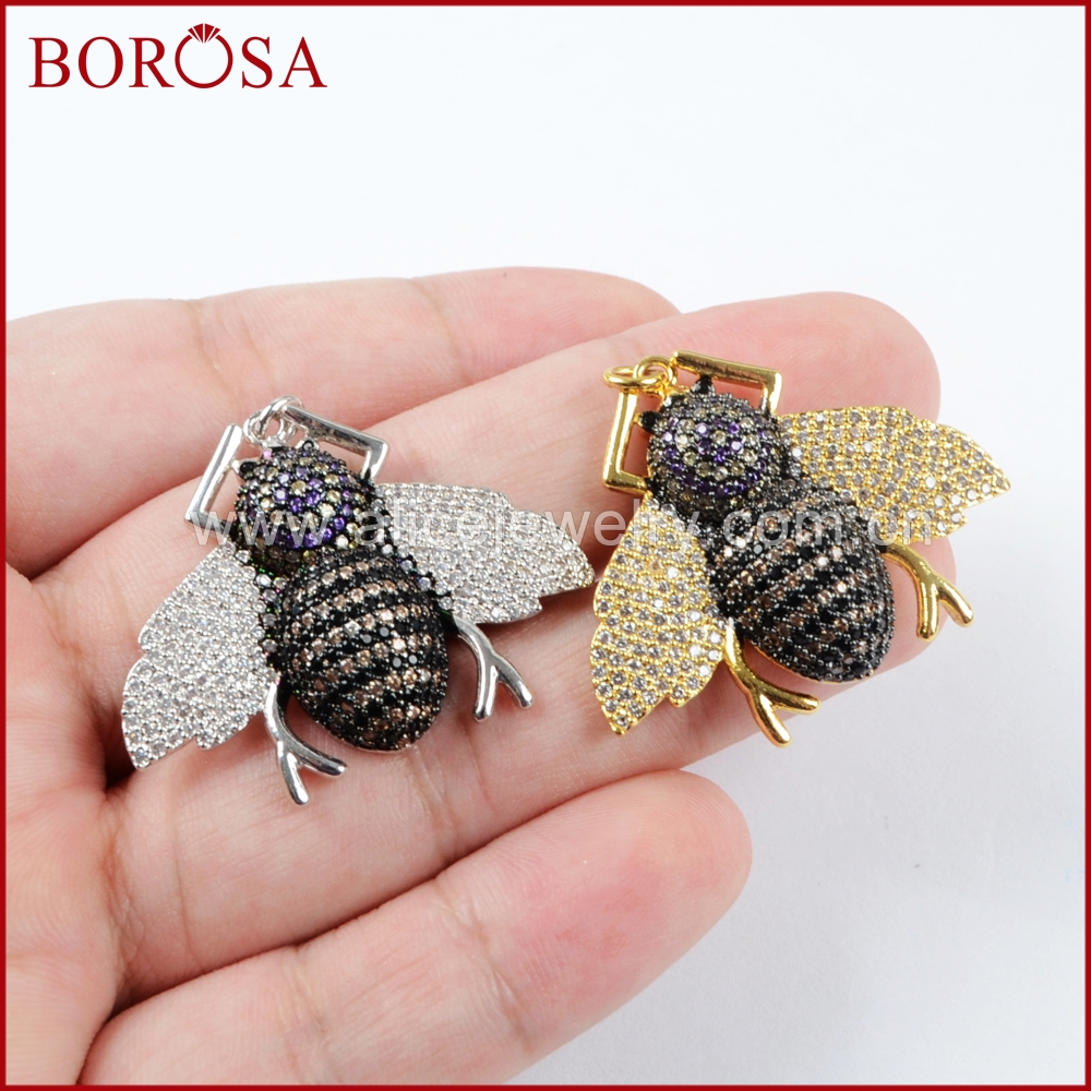 BOROSA 5pieces Fashion CZ Insects Beetles Pendant Multicolor Small Bugs Pets Beads Charm Pendants for Earrings DIY WX839 ...