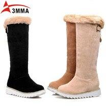 3MMA 2016 Handmade Large Size Rabbit Fur Shaft Snow Boots Women Winter Flats Platform Knee High Boots Warm Black Ladies Boots