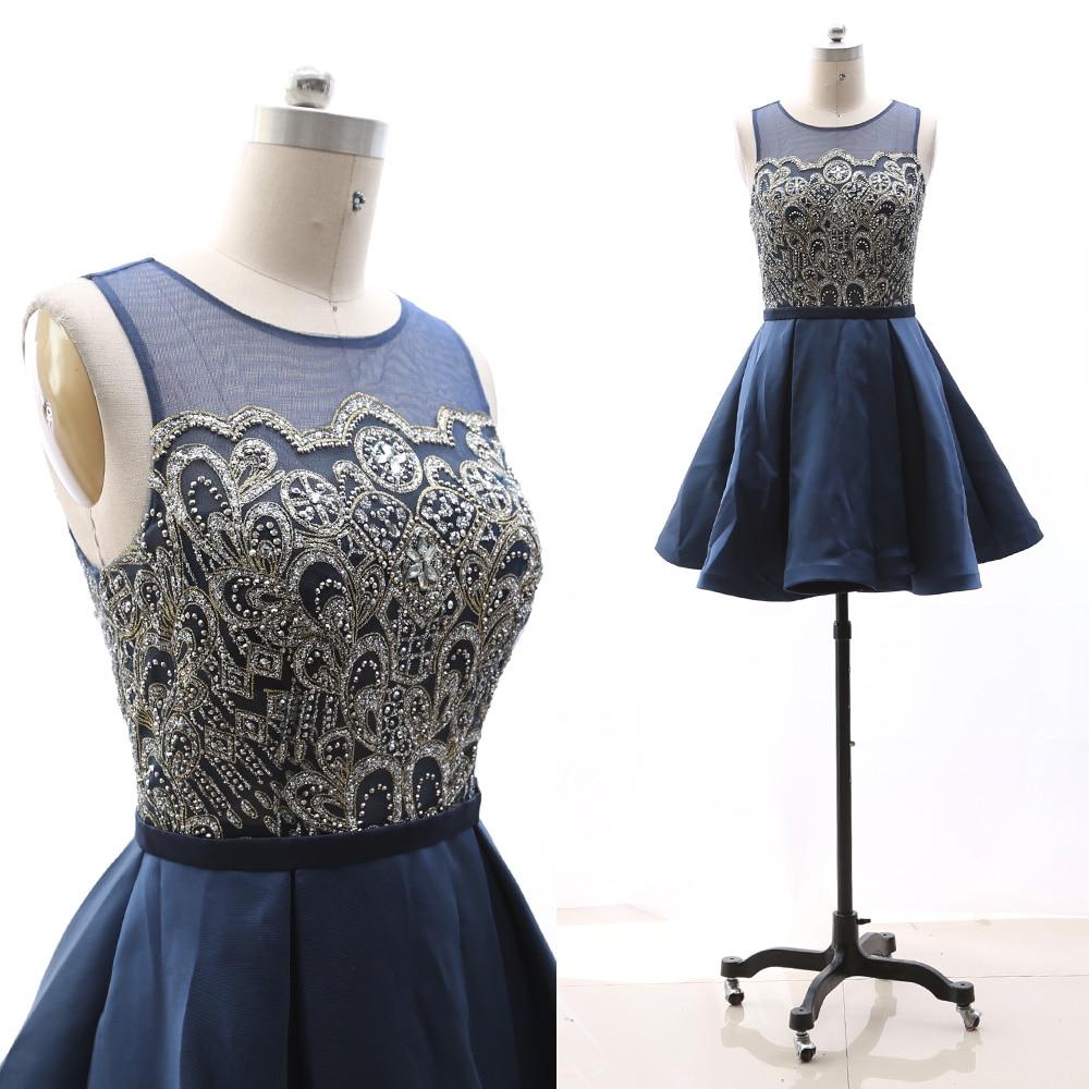 MACloth Dark Navy A-Line Scoop Neck Knee-Length Short Crystal Satin   Prom     Dresses     Dress   M 264959 Clearance