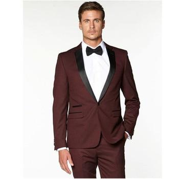 New men suit Groomsmen Notch Black Lapel Groom suit Tuxedos Burgundy Wine red Mens Suits 2017 wedding suits for men